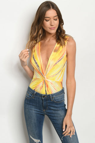 Yellow Tie Dye Bodysuit