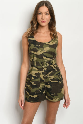 Camouflage Sleeveless Belted Romper