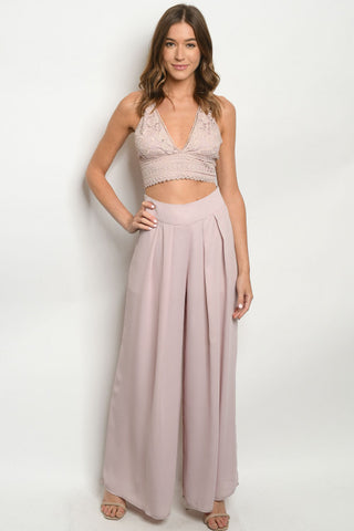 Mauve Pink 2pc Crop Top and Palazzo Pants Set