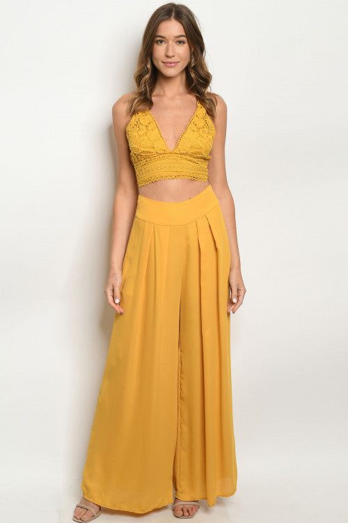 Mustard Yellow 2pc Crop Top and Palazzo Pants Set