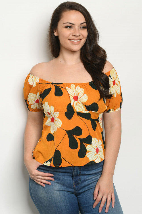 Mustard Yellow Floral Empire Waist Cold Shoulder Plus Size Top