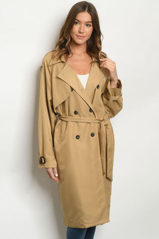 Khaki Long Trench Coat