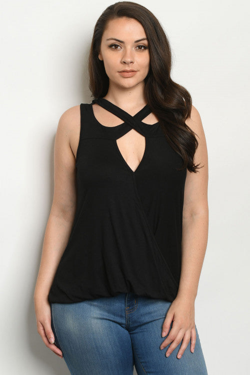 Black Criss Cross Neckline Plus Size Top