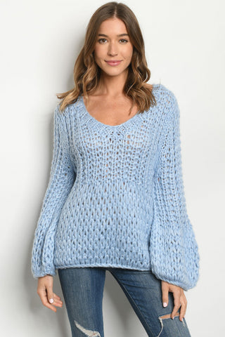 Soft Blue Chunky Knit Sweater