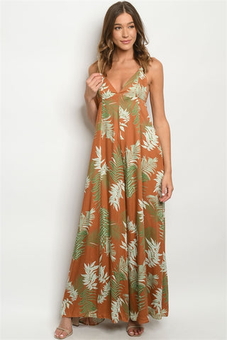 Rust Tropical Print Wide Leg Jumpsuit