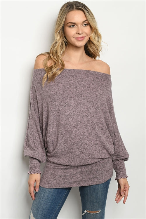 Mauve Purple Cold Shoulder Tunic Top