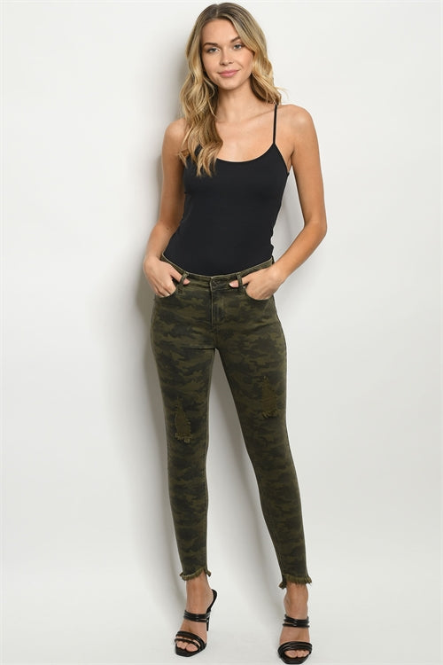 Distressed Denim Camouflage Jeans