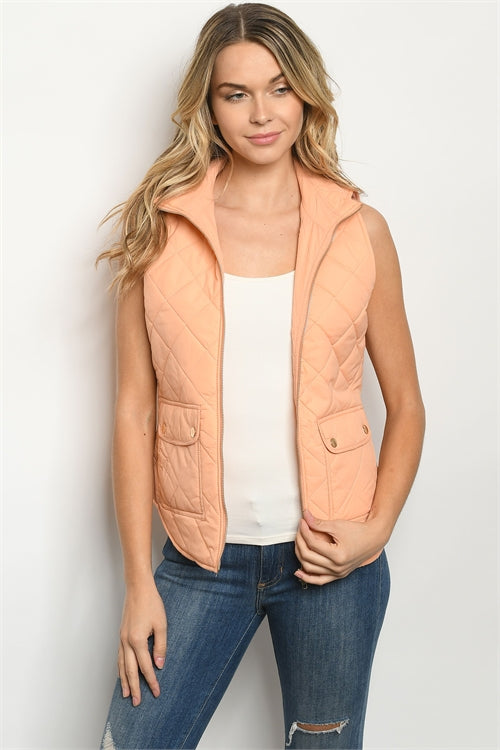 Peach Sleeveless Quilted Puffer Vest