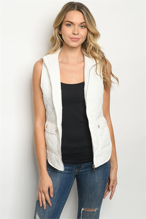 White Sleeveless Quilted Puffer Vest
