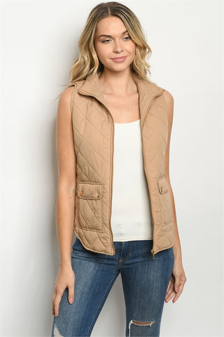 Taupe Brown Sleeveless Quilted Puffer Vest