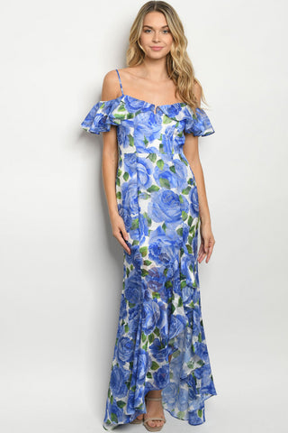 Blue Floral Cold Shoulder Mermaid Cut Maxi Dress Gown