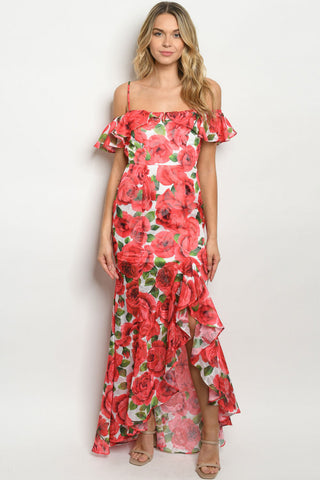 Red Floral Cold Shoulder Mermaid Cut Maxi Dress Gown