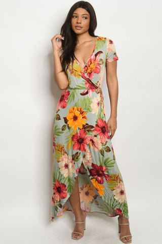 Sage Green Floral High Low Maxi Dress