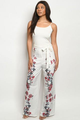 Ivory White Floral Wide Leg Pants