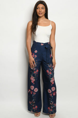 Navy Blue Floral Wide Leg Pants