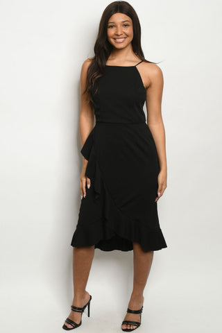 Black Strappy Ruffled Overlap Dress