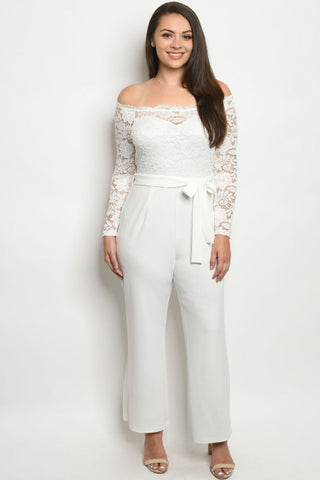 White Cold Shoulder Lace Accent Plus Size Jumpsuit
