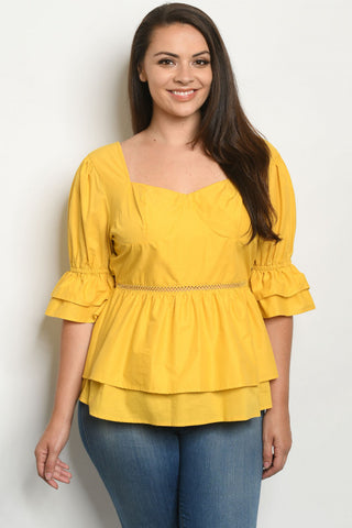 Mustard Yellow Puff Sleeve Plus Size Peplum Top
