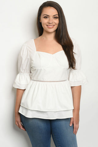 Ivory White Puff Sleeve Plus Size Peplum Top