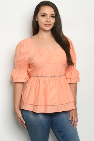 Salmon Pink Puff Sleeve Plus Size Peplum Top