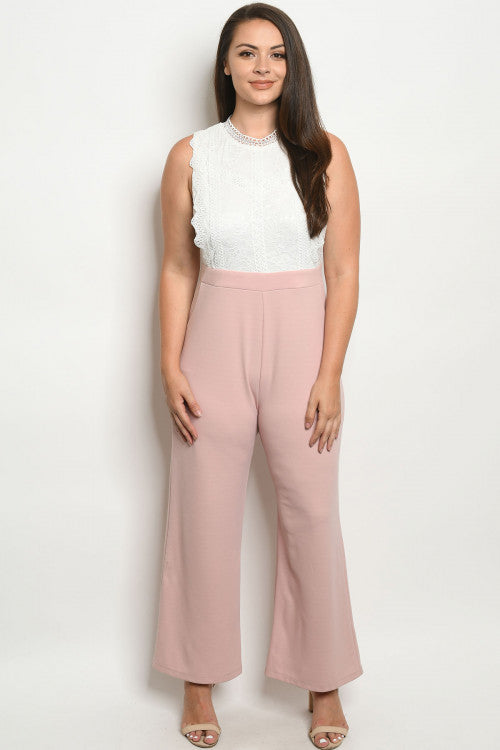 Blush Pink and White Lace Plus Size Jumpsuit