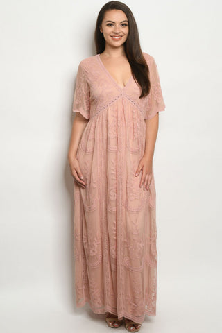 Blush Pink Lace Overlay Plus Size Maxi Dress