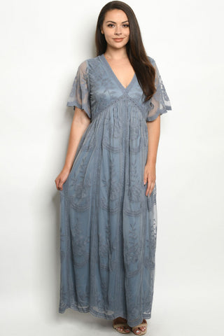 Indigo Blue Lace Overlay Plus Size Maxi Dress