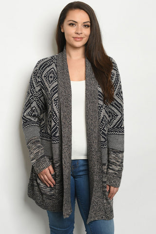 Navy Blue and Taupe Plus Size Cardigan Sweater