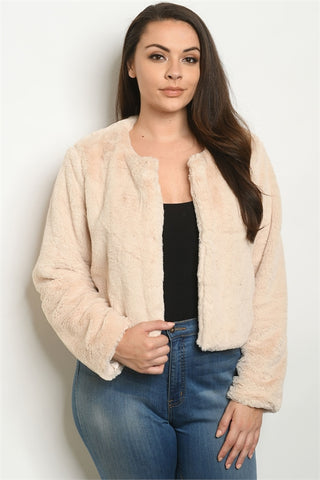 Beige Long Sleeve Plus Size Sherpa Jacket