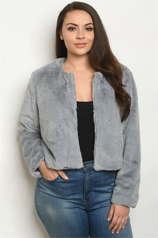 Gray Long Sleeve Plus Size Sherpa Jacket