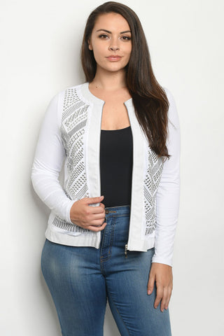 Embellished White Plus Size Bomber Jacket