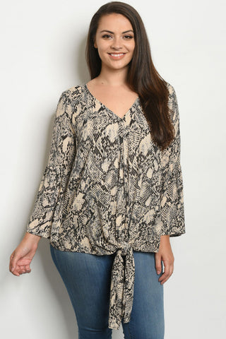 Taupe Snakeskin Print Plus Size Tunic Top