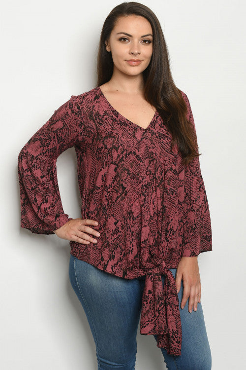 Mauve Pink Snakeskin Print Plus Size Tunic Top