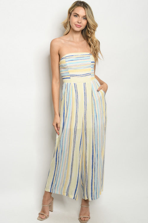 Yellow Stripe Wide Leg Strapless Jumpsuit