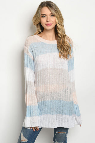 Pink and Blue Long Sleeve Tunic Sweater
