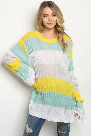 Yellow and Mint Green Long Sleeve Tunic Sweater