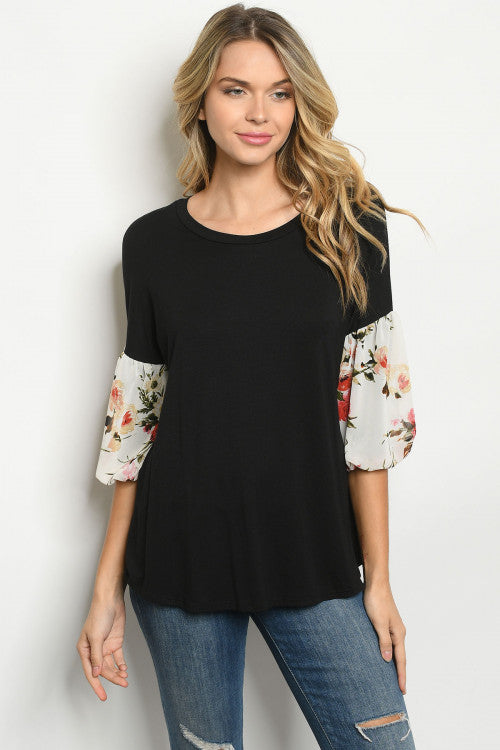 Black Floral Puff Sleeve Tunic Top