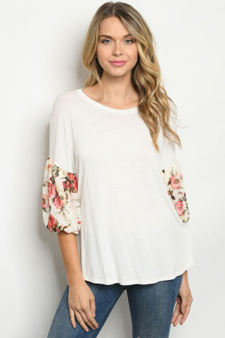 Ivory Floral Puff Sleeve Tunic Top
