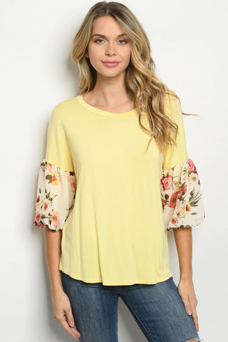Yellow Floral Puff Sleeve Tunic Top