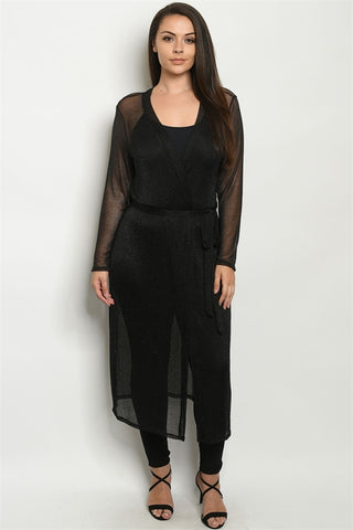 Sheer Black Plus Size Long Cardigan