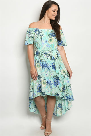 Mint Floral Cold Shoulder Plus Size Maxi Dress