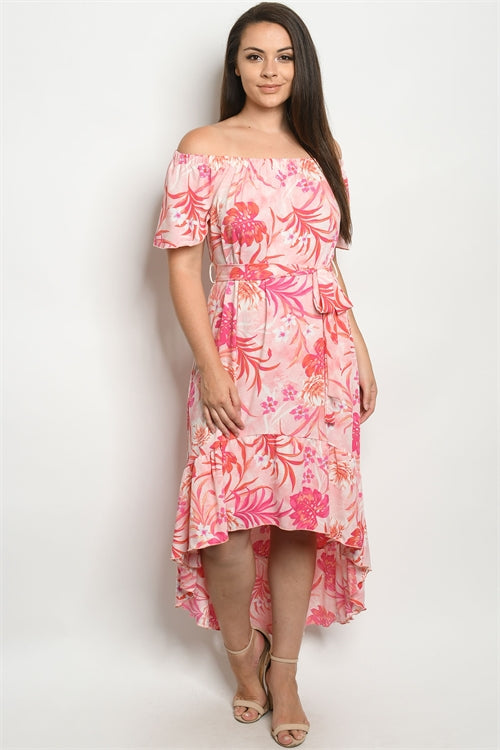 Pink Floral Cold Shoulder Plus Size Maxi Dress