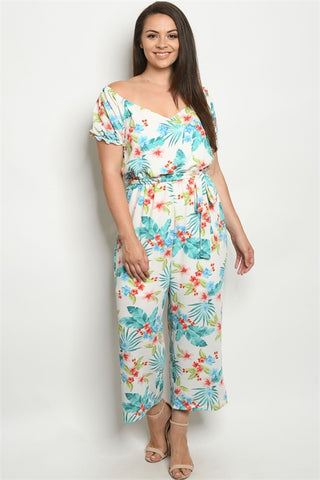 White Floral Plus Size Jumpsuit