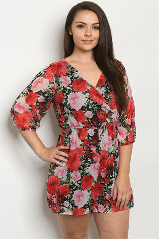 Black and Red Floral Plus Size Romper