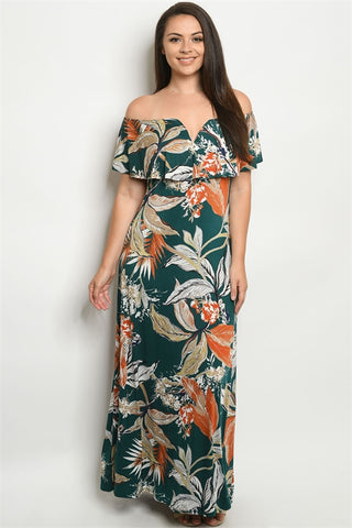 Green Leaf Print Plus Size Maxi Dress