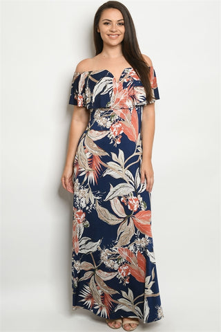 Navy Blue Leaf Print Plus Size Maxi Dress