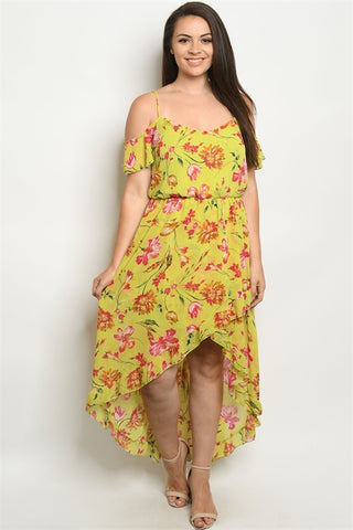 Lime Yellow Floral Cold Shoulder Plus Size Dress