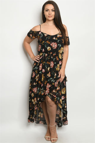 Black Floral Cold Shoulder Plus Size Dress