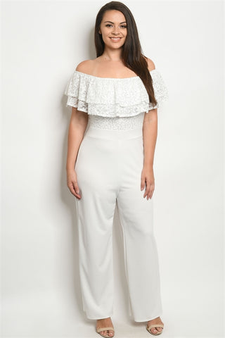 White Cold Shoulder Lace Bodice Plus Size Jumpsuit