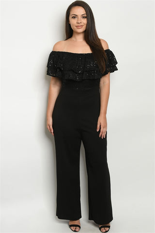 Black Cold Shoulder Lace Bodice Plus Size Jumpsuit